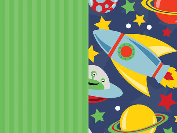 """*Space Rockets & Stripes Reversible Wrapping Paper, 24""""x417' Roll"""