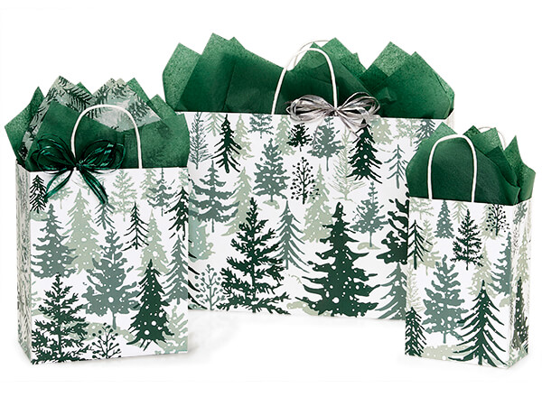 Snowy Pines Paper Shopping Bags