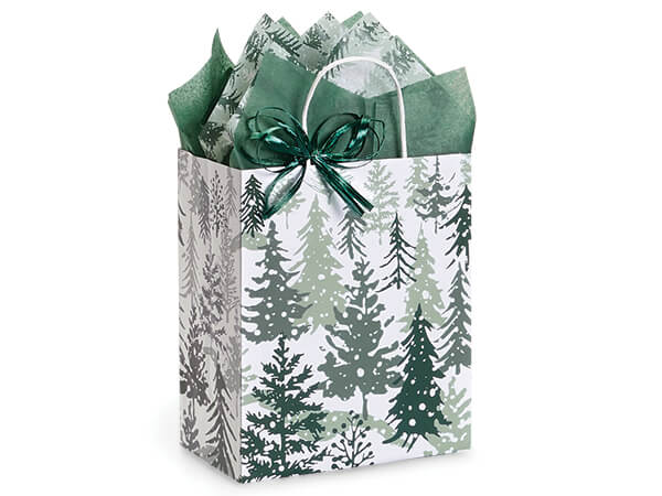 "Snowy Pines Paper Shopping Bag Cub 8x4.75x10.25"", 25 Pack"
