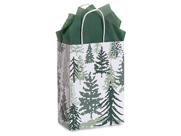 """Snowy Pines Paper Shopping Bag Rose 5.5x3.25x8.5"""", 25 Pack"""