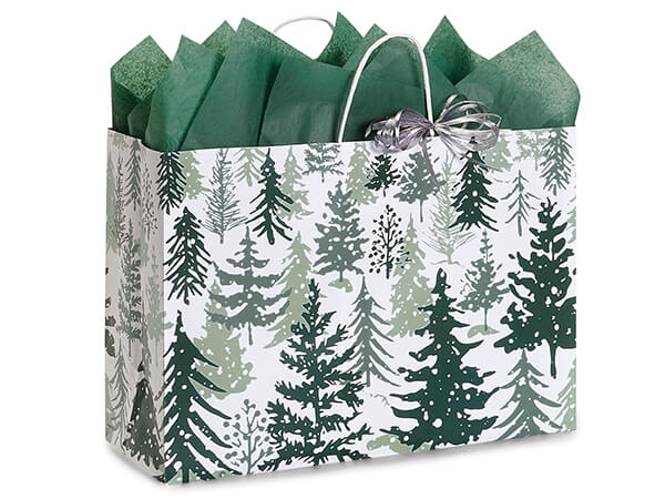 """Snowy Pines Paper Shopping Bag Vogue 16x6x12"""", 25 Pack"""