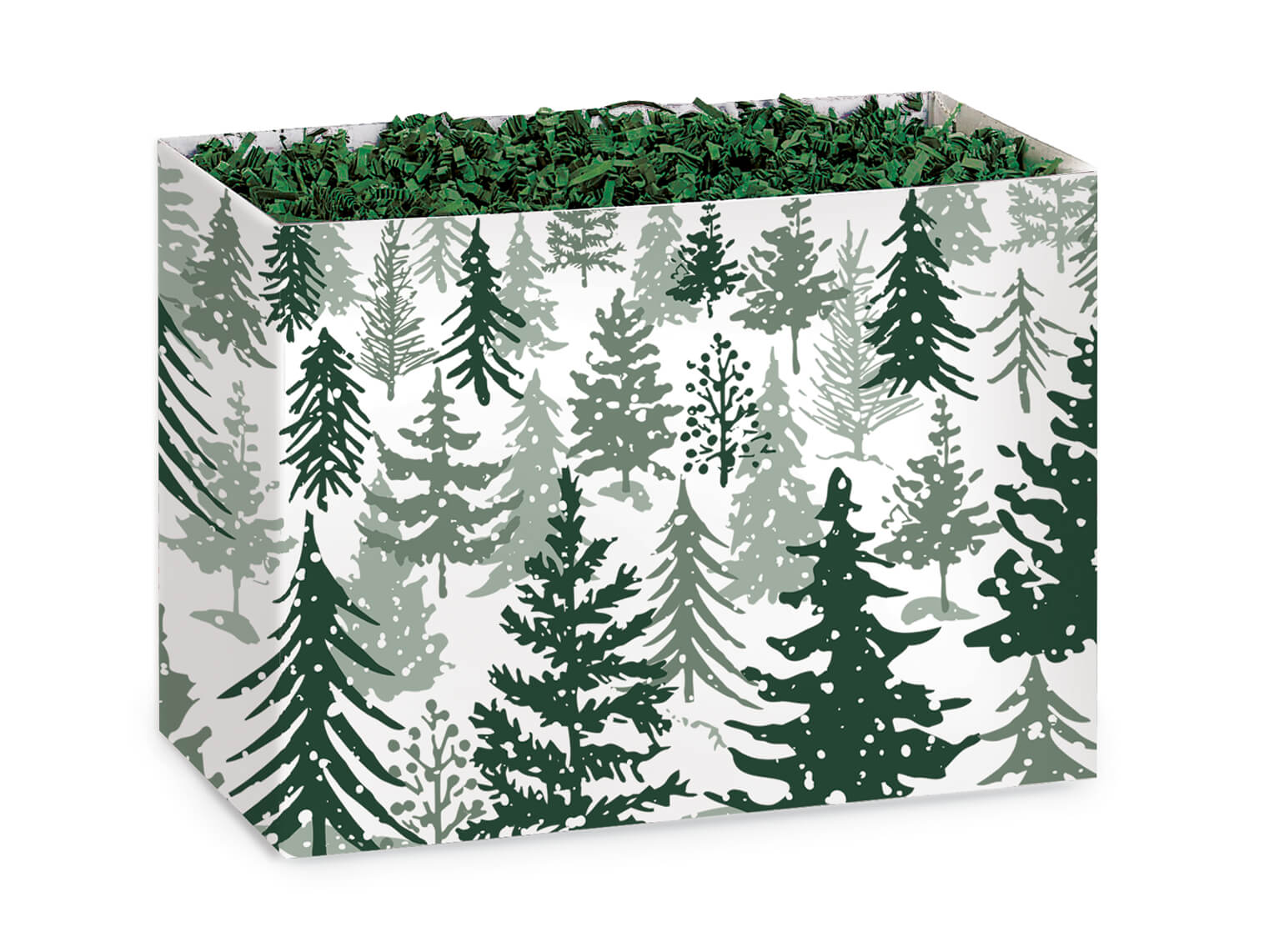 """Snowy Pines Basket Box, Small 6.75x4x5"""", 6 Pack"""