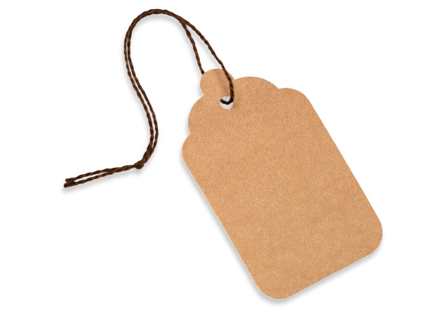 Jumbo Kraft Resale Gift Tags Cotton Strung 2x3-5/16""