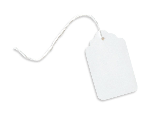 """Large White Resale Gift Tags Cotton Strung 1-3/4x2-7/8"""""""