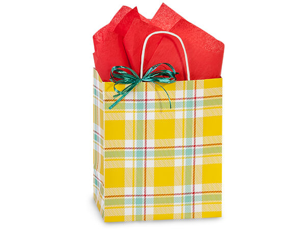 "Sunshine Plaid Paper Shopping Bags, Cub 8x4.75x10.25"", 250 Pack"