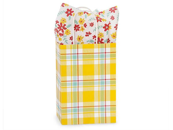 "Sunshine Plaid Paper Shopping Bags, Rose 5.5x3.25x8.5"", 250 Pack"