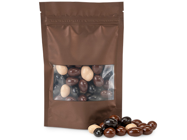 "Chocolate 4x5-1/2x1-1/2"" Window 500 Pack Zipper Bags 5 Mil"