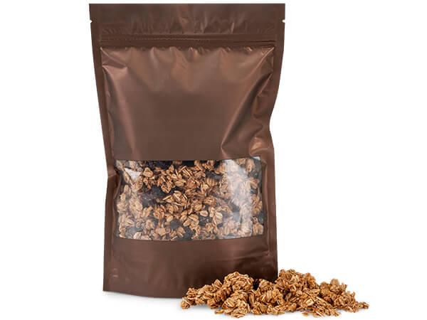 "Chocolate 6x8-1/2x1-7/8"" Window 500 Pack Zipper Bags 5 Mil"