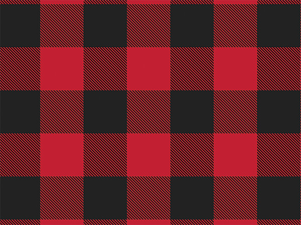 "Red and Black Buffalo Plaid, 30""x150' Bulk Wrapping Paper Roll"