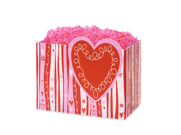 *Small Swirly Hearts Basket Boxes 6-3/4x4x5""