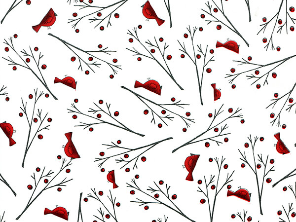"""Red Cardinals Stone Wrap 30""""x85' Gift Wrap Cutter Roll"""