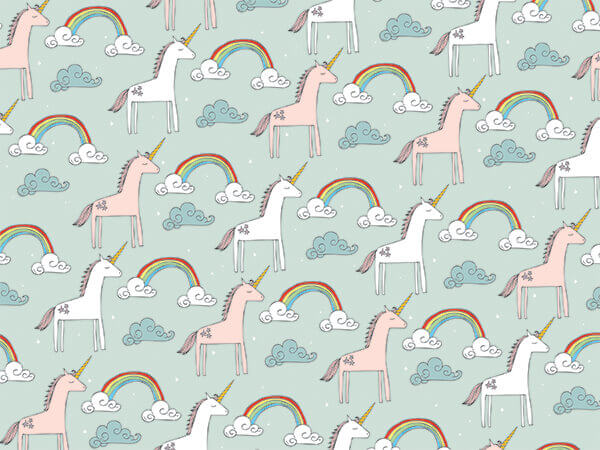 """*Rainbows and Unicorns, 30""""x150' Bulk Wrapping Paper Roll"""