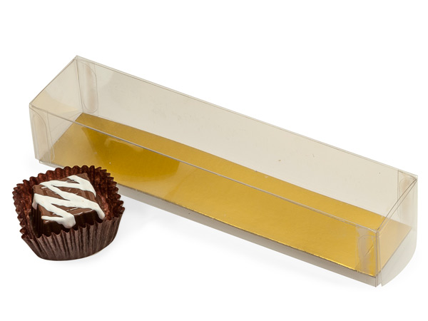 Clear with Gold Bottom Insert, 2 Piece Candy Boxes, 6.25x1.25x1""