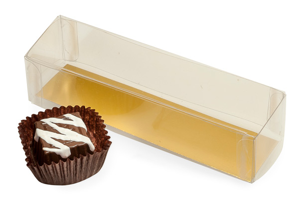 "Clear 2 Piece Candy Box with Gold Bottom Insert, 3.5x1x1.25"", 10 Pack"