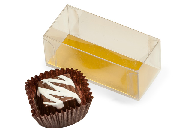"""Clear with Gold Bottom Insert, 2 Piece Candy Boxes, 2.75x1.25x1.25"""""""