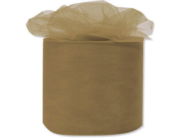 "Antique Gold Premium Tulle Ribbon, 3""x50 yards"