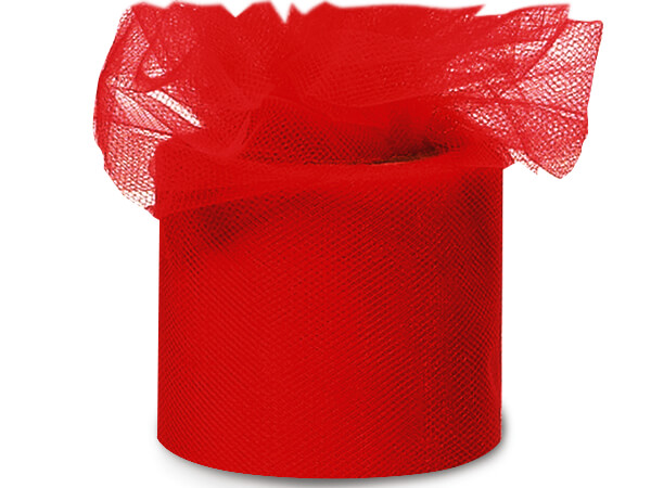 "Red Tulle Ribbon 3""x50 yds 100% Nylon Netting"