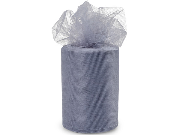 "Charcoal Tulle Ribbon, 6""x100 yards"