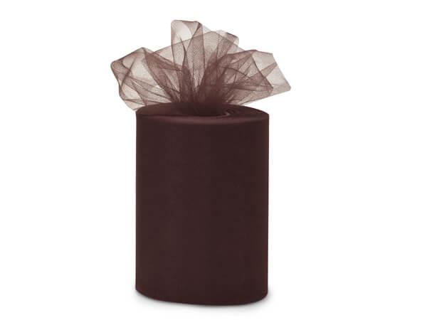 "Chocolate Brown Premium Tulle Ribbon, 6""x100 yards"