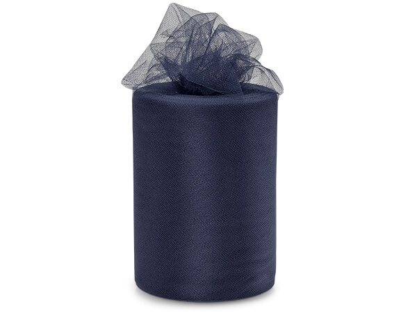 "Navy Blue Tulle Ribbon, 6""x100 yards"