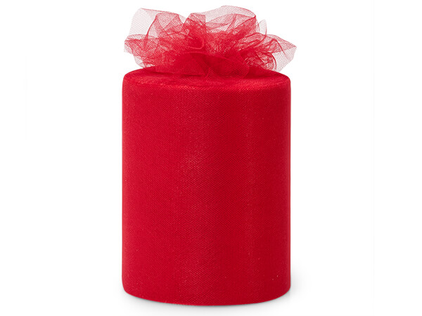 """Ruby Red Premium Tulle Ribbon, 6"""" x 100 yards"""