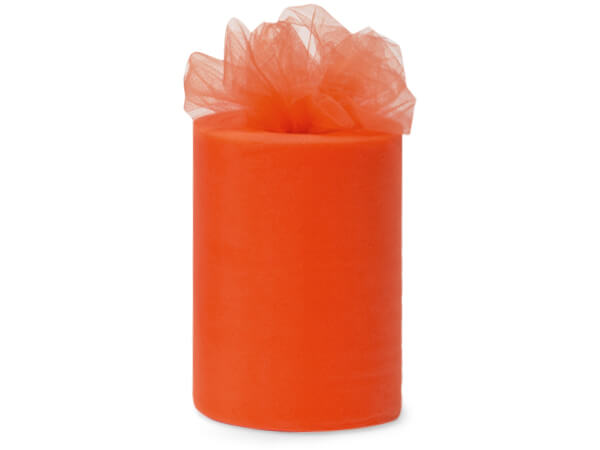 "Shrimp Orange Premium Tulle Ribbon, 6""x100 yards"