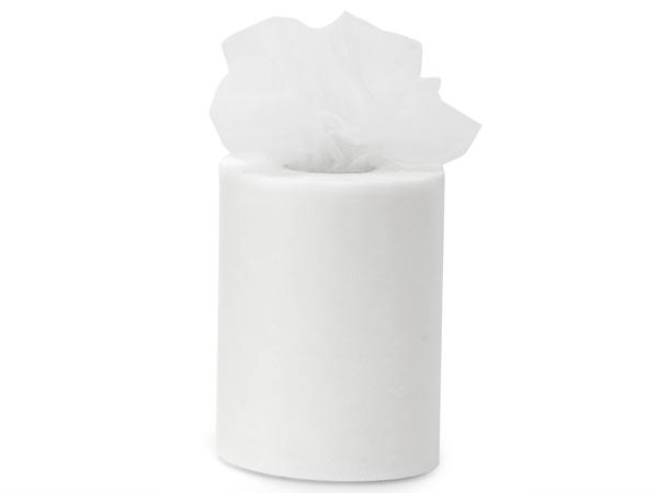 """White Premium Tulle Ribbon, 6""""x100 yards"""