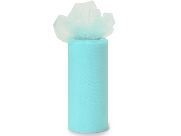 "Aqua Blue Premium Tulle Ribbon, 6""x25 yards"