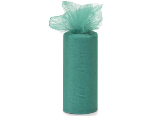 "Teal Blue Premium Tulle Ribbon, 6""x25 yards"