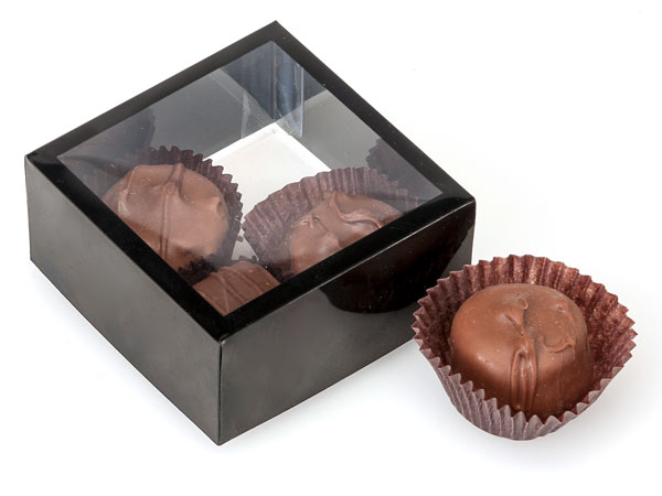 Clear with Black Trim, Square 2 Piece Candy Boxes, 2.75x2.75x1.25""