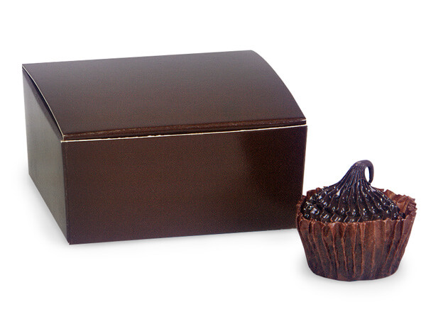 "Chocolate Square Truffle Boxes 2-5/8x2-3/4x1-1/4"" Holds 4"