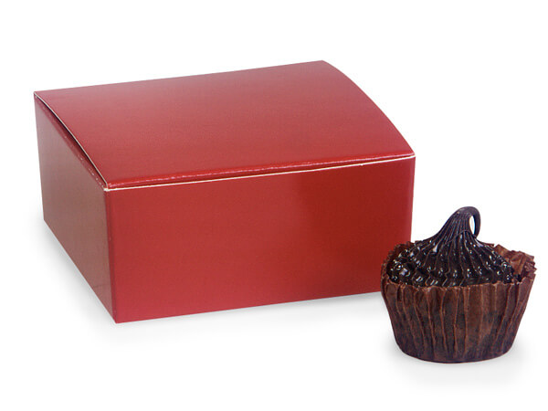 """Cherry Red Square Truffle Boxes 2-5/8x2-3/4x1-1/4"""" Holds 4"""