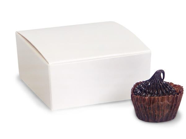 """White Square Truffle Boxes 2-5/8x2-3/4x1-1/4"""" Holds 4"""