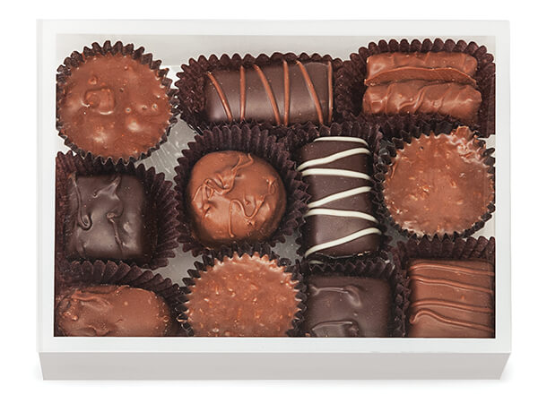 """Clear with White Trim, Rectangle 2 Piece Candy Boxes, 5.5x 4x1.25"""""""