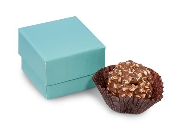 "Aqua Blue Single Truffle Box, 1.5x1.5x1.25"", 24 Pack"
