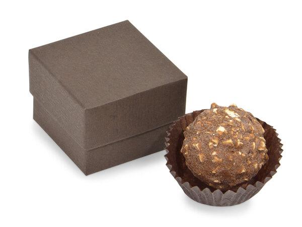 """Chocolate Embossed Single Truffle Box, 1.5x1.5x1.25"""", 24 Pack"""