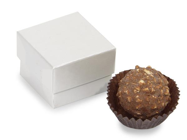 """White Pearl Single Truffle Box, 1.5x1.5x1.25"""", 24 Pack"""
