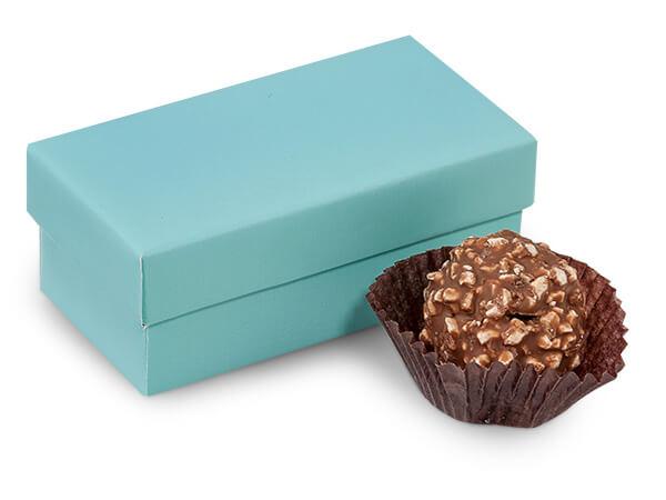 "Aqua Blue Double Truffle Box, 3.25x1.5x1.25"", 24 Pack"