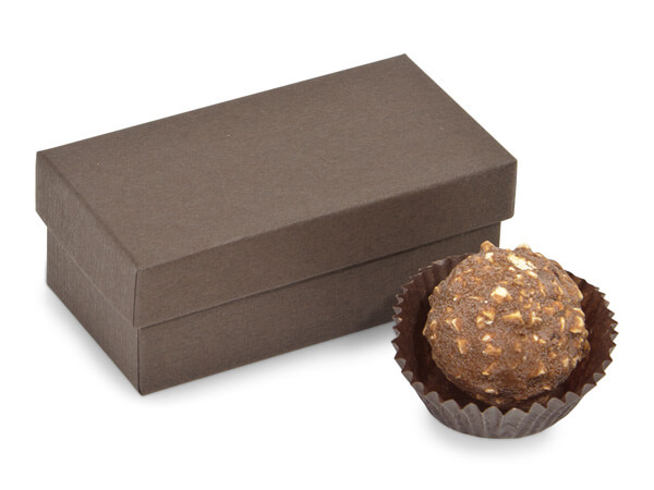 "Chocolate Embossed Truffle Box, 3.25x1.5x1.25"", 24 Pack"