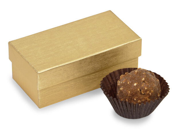 "Gold Embossed Truffle Box, 3.25x1.5x1.25"", 24 Pack"