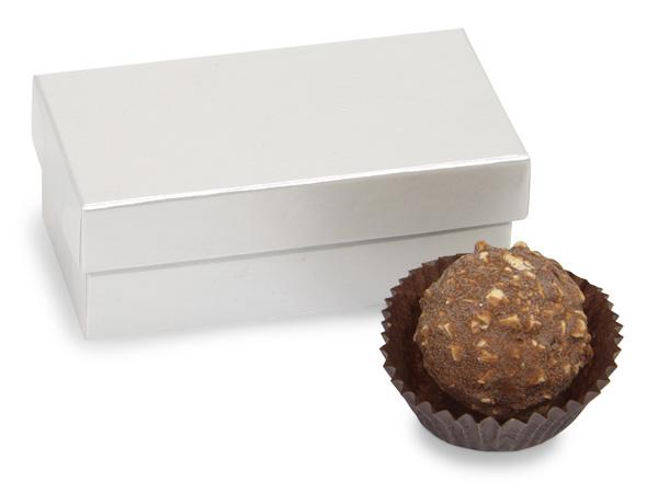 """White Pearl Single Truffle Box, 3.25x1.5x1.25"""", 24 Pack"""