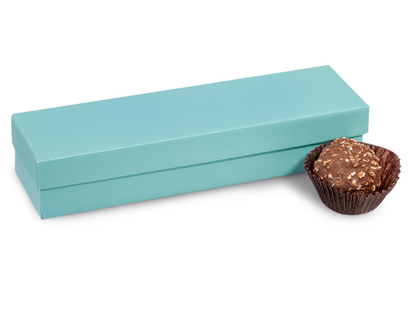 "Aqua Blue 5 Piece Truffle Box, 6.5x1.5x1.25"", 24 Pack"
