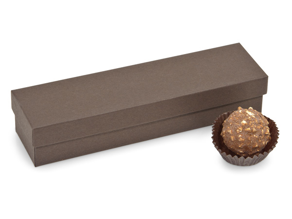 "Chocolate Embossed 5 Piece Truffle Box, 6.5x1.5x1.25"", 24 Pack"