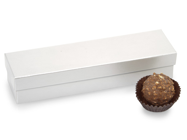 "White Pearl 5 Piece Truffle Box, 6.5x1.5x1.25"", 24 Pack"