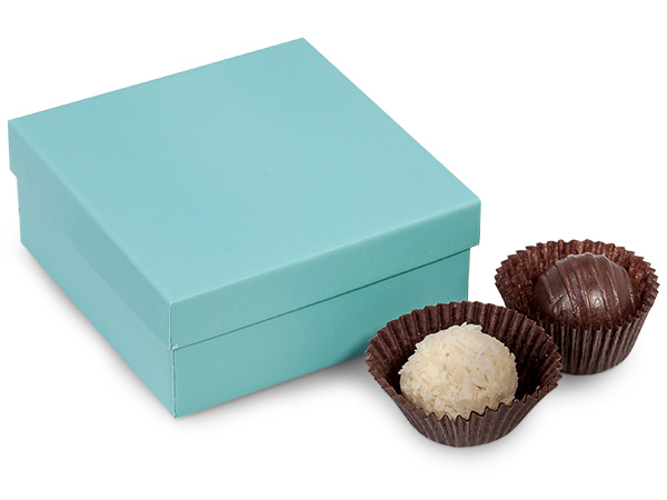 "Aqua Blue 4 Piece Truffle Box, 3.5x3.5x1.5"", 24 Pack"