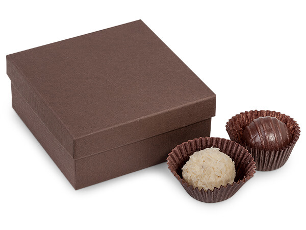 Embossed Chocolate Rigid 4-Pc. Truffle Boxes