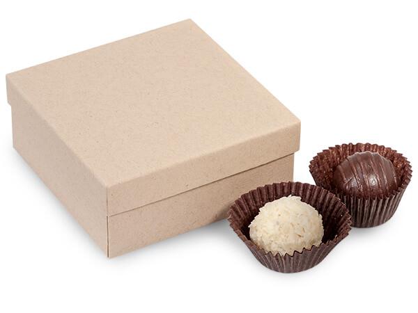 "Brown Kraft 4 Piece Truffle Box, 3.5x3.5x1.5"", 24 Pack"