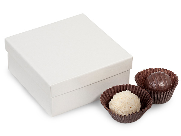 "White Pearl 4 Piece Truffle Box, 3.5x3.5x1.5"", 24 Pack"