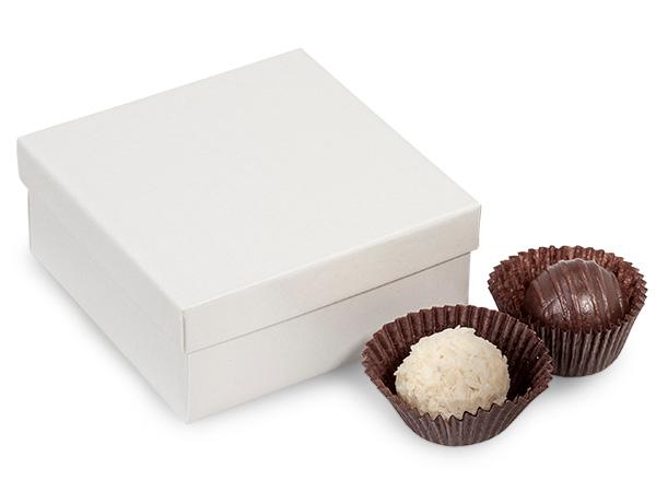 "White Pearl 4 Piece Truffle Box, 3.5x3.5x1.5"", 24 Pack"