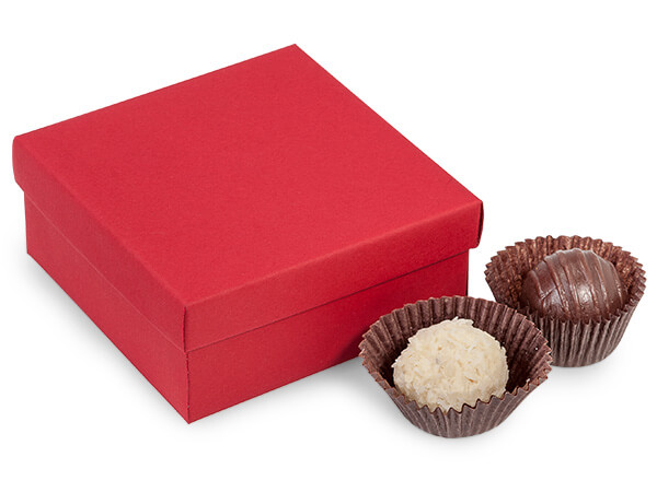 Red Rigid 4-Pc. Truffle Boxes